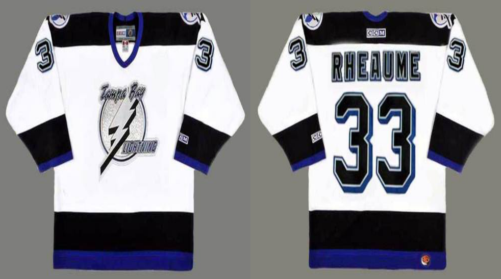 2019 Men Tampa Bay Lightning 33 Rheaume white CCM NHL jerseys