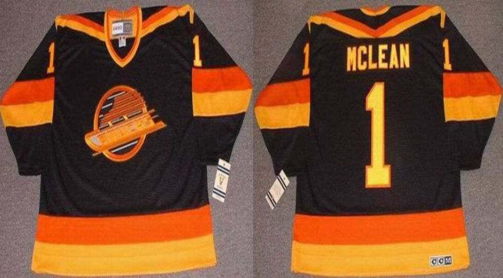 2019 Men Vancouver Canucks 1 Mclean Black CCM NHL jerseys