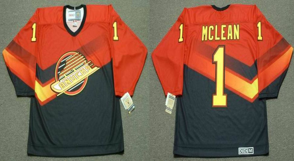 2019 Men Vancouver Canucks 1 Mclean Orange CCM NHL jerseys