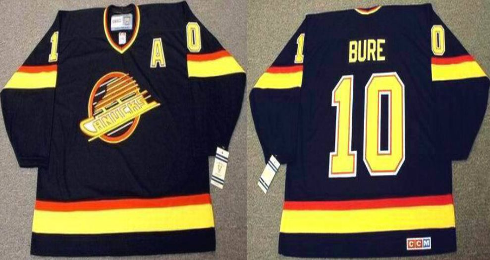 2019 Men Vancouver Canucks 10 Bure Black CCM NHL jerseys