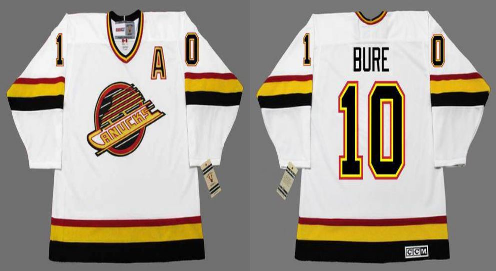 2019 Men Vancouver Canucks 10 Bure White CCM NHL jerseys