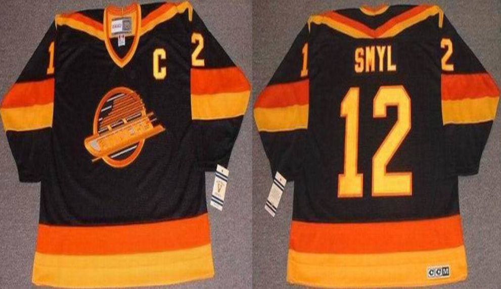 2019 Men Vancouver Canucks 12 Smyl Black CCM NHL jerseys1