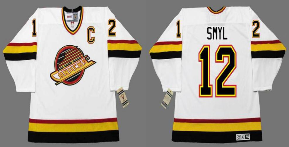 2019 Men Vancouver Canucks 12 Smyl White CCM NHL jerseys
