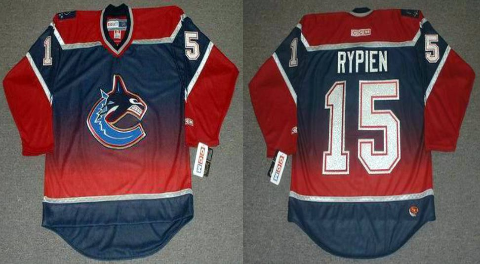2019 Men Vancouver Canucks 15 Rypien Red CCM NHL jerseys