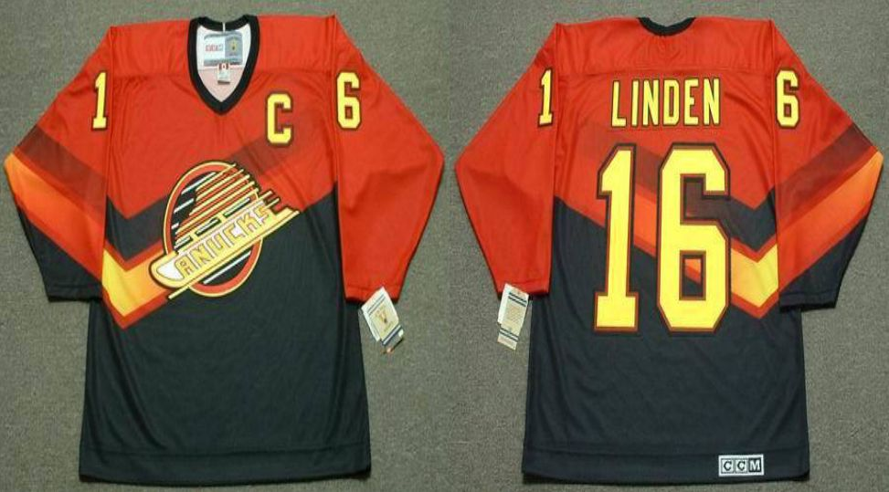 2019 Men Vancouver Canucks 16 Linden Orange CCM NHL jerseys