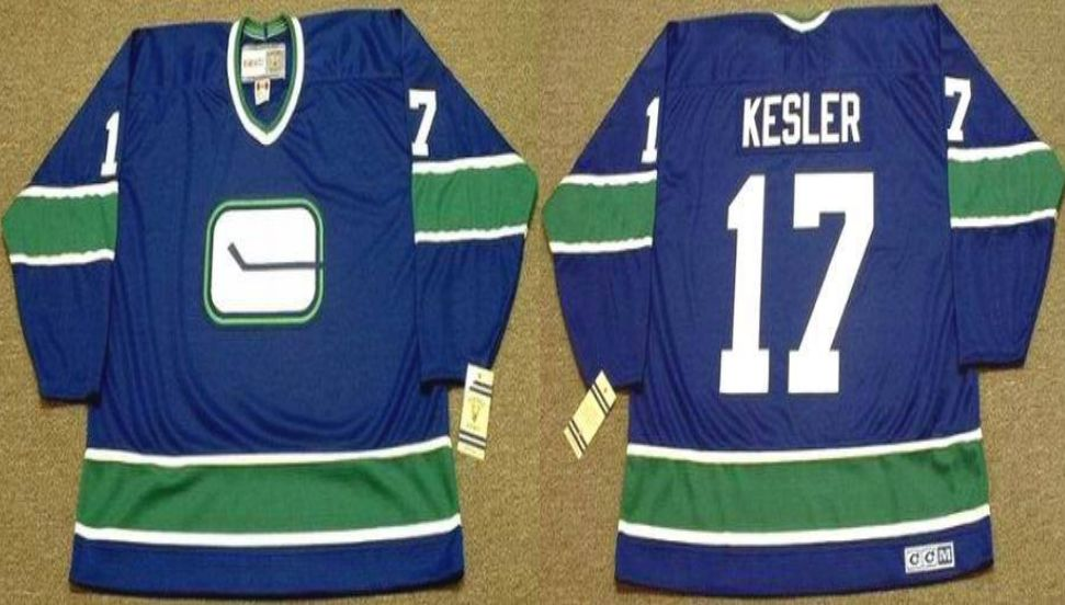 2019 Men Vancouver Canucks 17 Kesler Blue CCM NHL jerseys