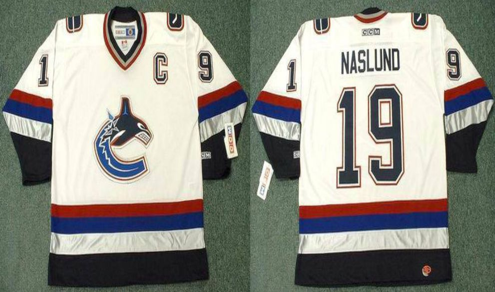 2019 Men Vancouver Canucks 19 Naslund White CCM NHL jerseys