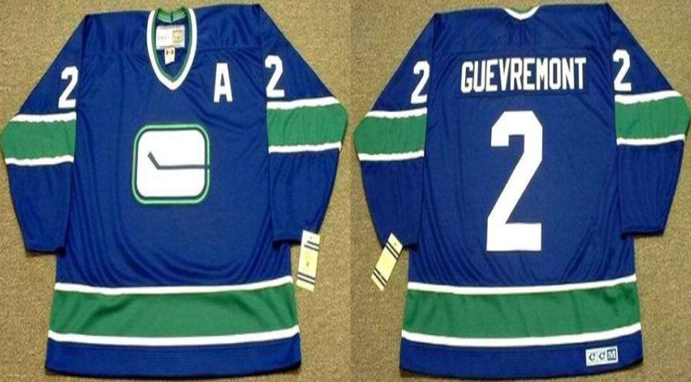 2019 Men Vancouver Canucks 2 Guevremont Blue CCM NHL jerseys