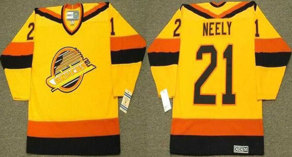 2019 Men Vancouver Canucks 21 Neely Yellow CCM NHL jerseys