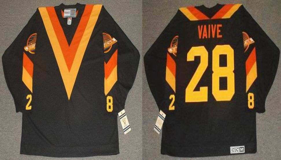 2019 Men Vancouver Canucks 28 Vaive Black CCM NHL jerseys