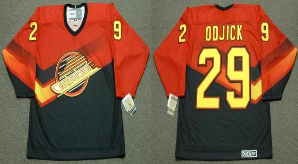 2019 Men Vancouver Canucks 29 Odjick Orange CCM NHL jerseys