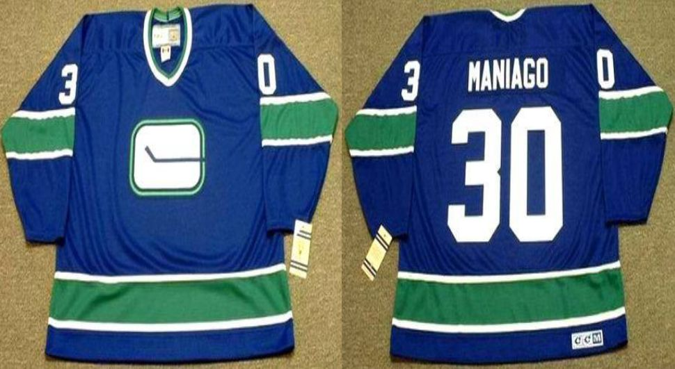 2019 Men Vancouver Canucks 30 Maniago Blue CCM NHL jerseys