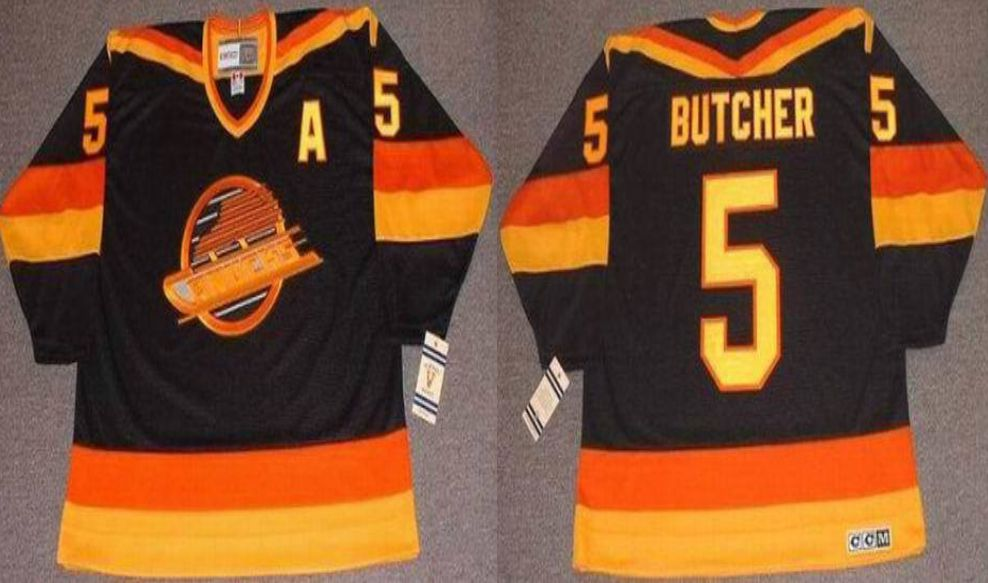 2019 Men Vancouver Canucks 5 Butcher Black CCM NHL jerseys