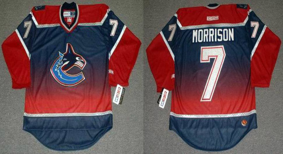2019 Men Vancouver Canucks 7 Morrison Red CCM NHL jerseys