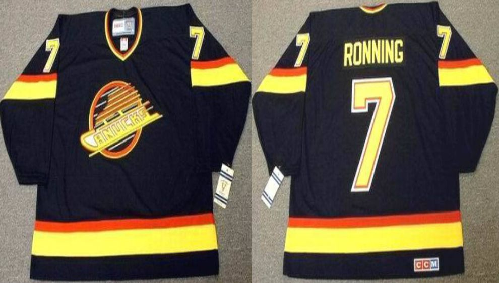 2019 Men Vancouver Canucks 7 Ronning Black CCM NHL jerseys