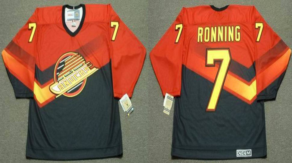 2019 Men Vancouver Canucks 7 Ronning Orange CCM NHL jerseys
