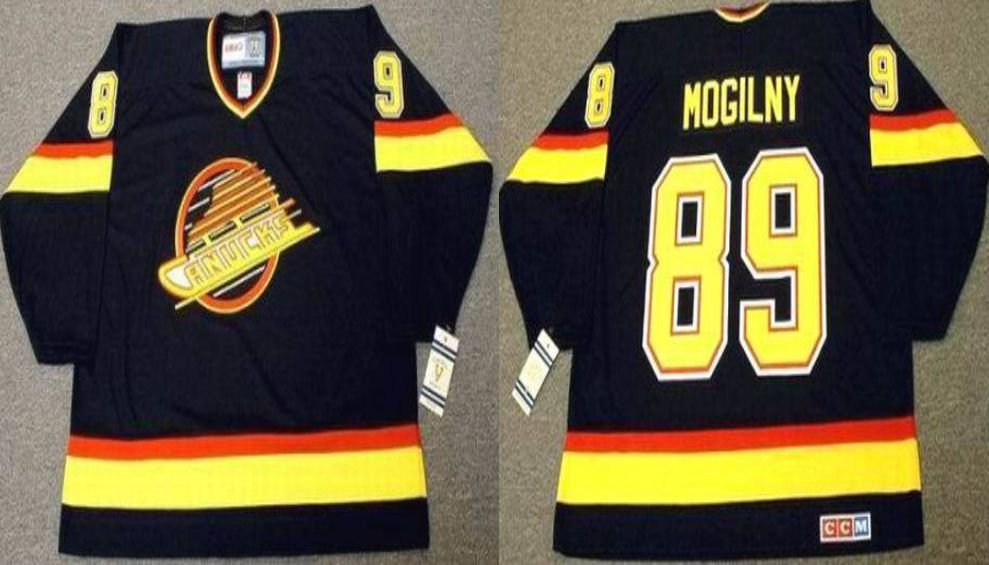 2019 Men Vancouver Canucks 89 Mogilny Black CCM NHL jerseys
