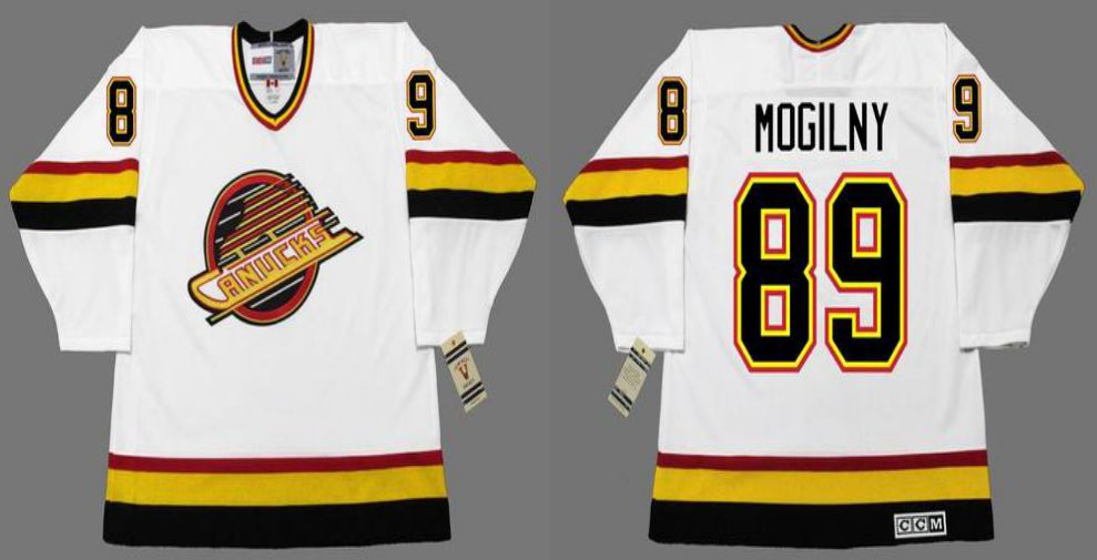 2019 Men Vancouver Canucks 89 Mogilny White CCM NHL jerseys
