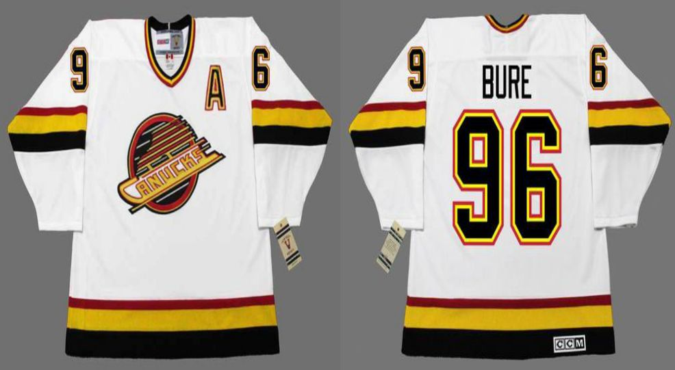 2019 Men Vancouver Canucks 96 Bure White CCM NHL jerseys