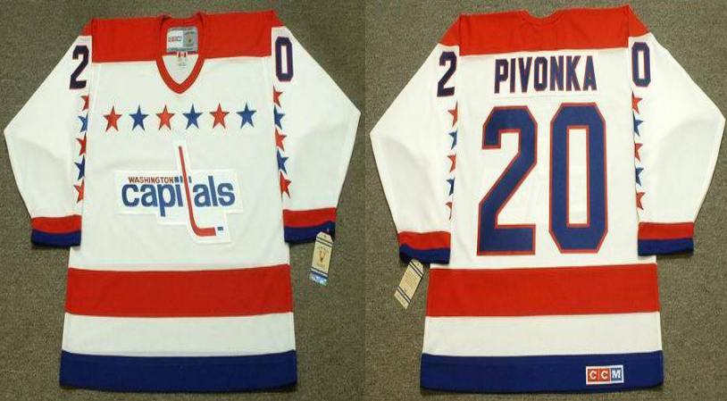 2019 Men Washington Capitals 20 Pivonka white CCM NHL jerseys