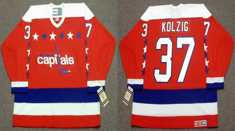 2019 Men Washington Capitals 37 Kolzig red CCM NHL jerseys
