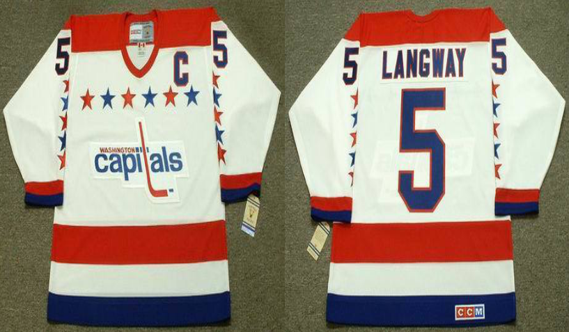 2019 Men Washington Capitals 5 Langway white CCM NHL jerseys
