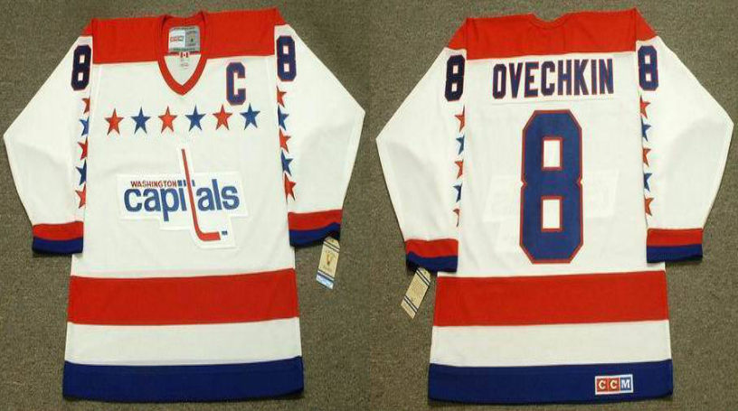 2019 Men Washington Capitals 8 Ovechkin white CCM NHL jerseys