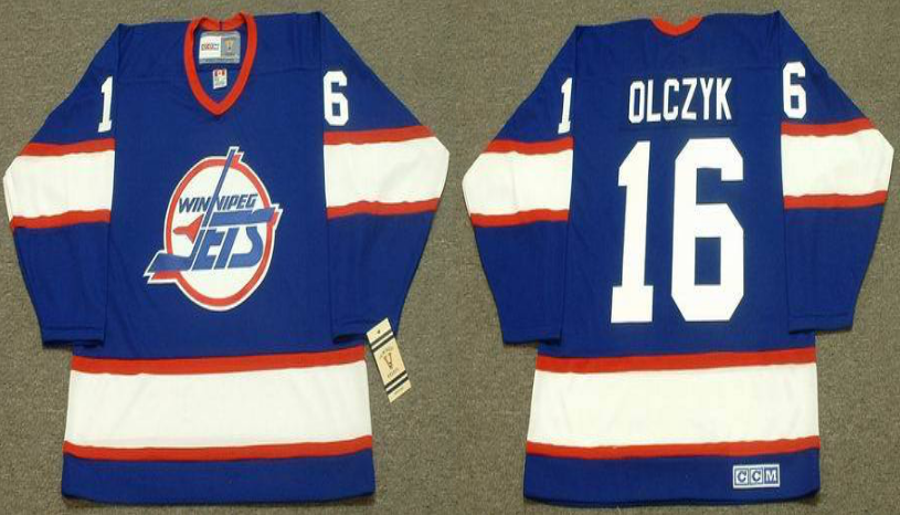 2019 Men Winnipeg Jets 16 Olczyk blue CCM NHL jersey