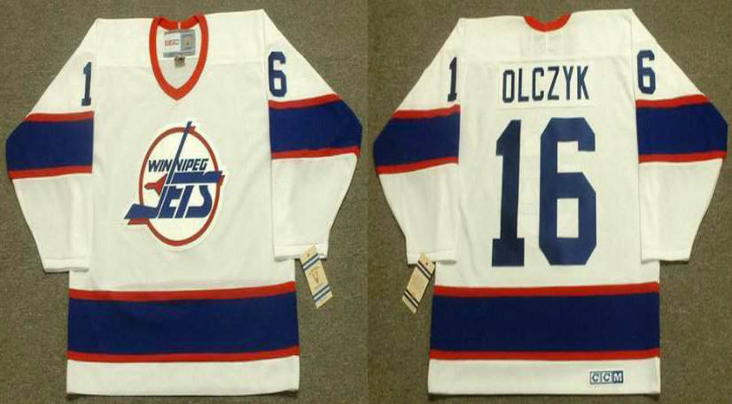 2019 Men Winnipeg Jets 16 Olczyk white CCM NHL jersey