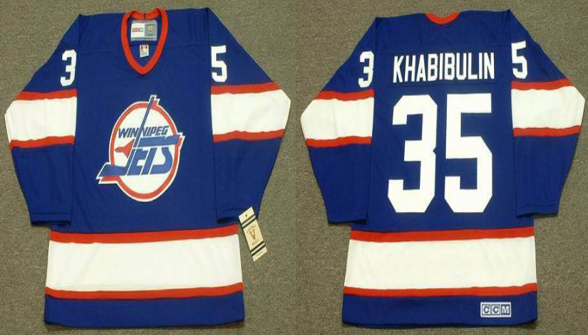 2019 Men Winnipeg Jets 35 Khabibulin blue CCM NHL jersey