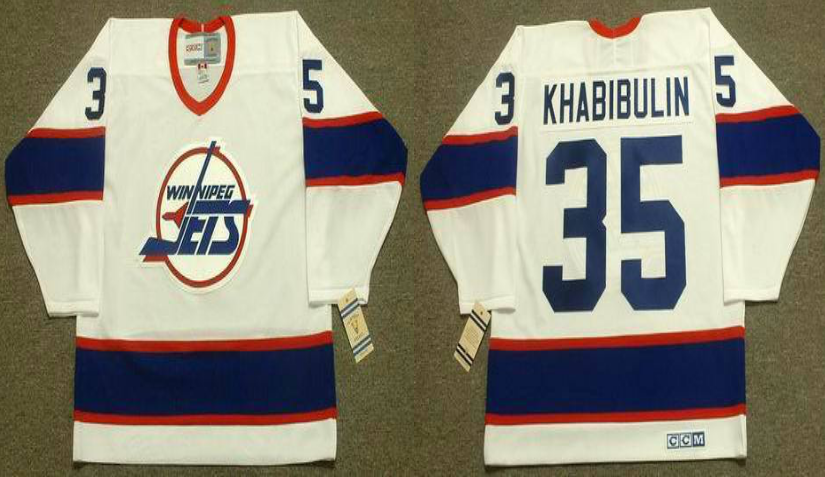 2019 Men Winnipeg Jets 35 Khabibulin white CCM NHL jersey