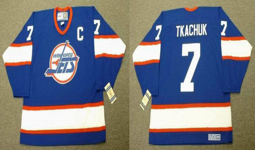 2019 Men Winnipeg Jets 7 Tkachuk blue CCM NHL jersey