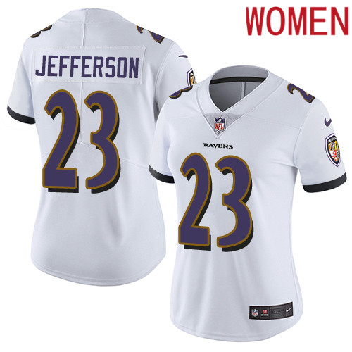 2019 Women Baltimore Ravens 23 Jefferson white Nike Vapor Untouchable Limited NFL Jersey