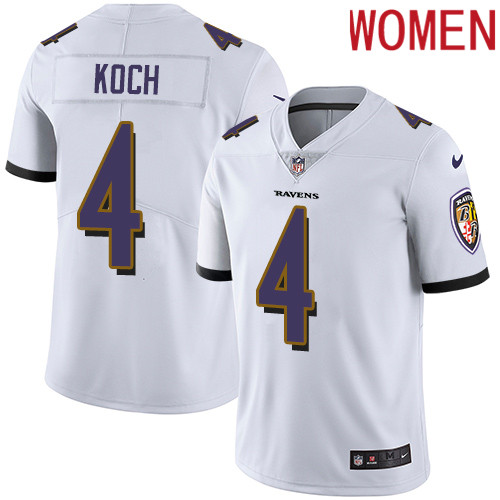 2019 Women Baltimore Ravens 4 Koch white Nike Vapor Untouchable Limited NFL Jersey