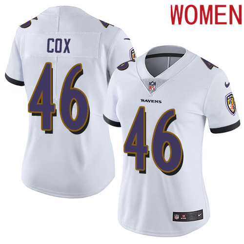 2019 Women Baltimore Ravens 46 Cox white Nike Vapor Untouchable Limited NFL Jersey