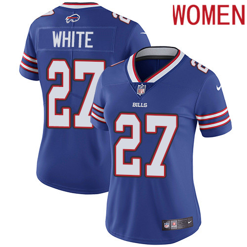 2019 Women Buffalo Bills 27 White blue Nike Vapor Untouchable Limited NFL Jersey