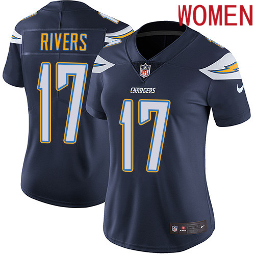 2019 Women Los Angeles Chargers 17 Rivers blue Nike Vapor Untouchable Limited NFL Jersey