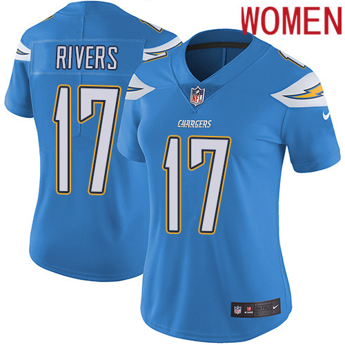 2019 Women Los Angeles Chargers 17 Rivers light blue Nike Vapor Untouchable Limited NFL Jersey