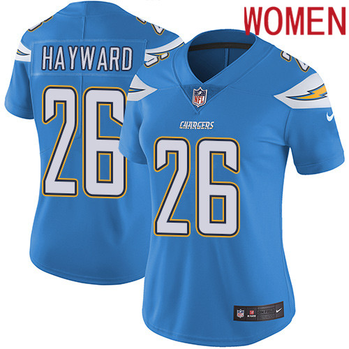 2019 Women Los Angeles Chargers 26 Hayward light blue Nike Vapor Untouchable Limited NFL Jersey