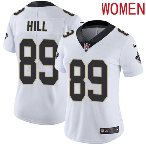 2019 Women New Orleans Saints 89 Hill white Nike Vapor Untouchable Limited NFL Jersey