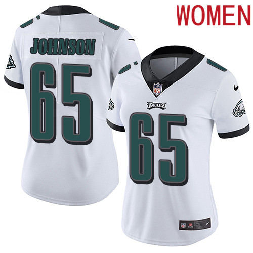 2019 Women Philadelphia Eagles 65 Johnson white Nike Vapor Untouchable Limited NFL Jersey