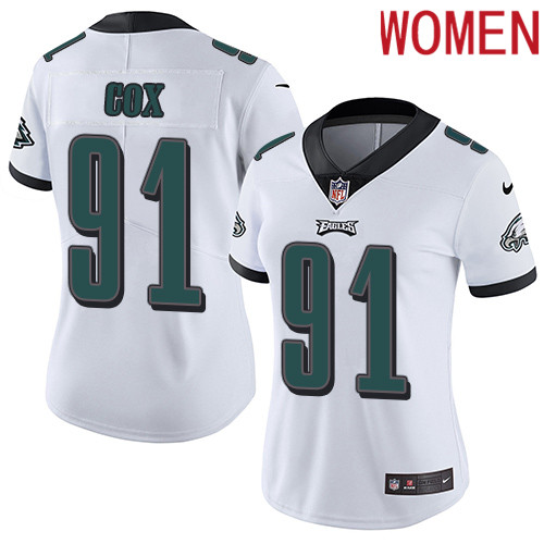 2019 Women Philadelphia Eagles 91 Cox white Nike Vapor Untouchable Limited NFL Jersey