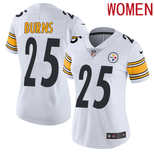 2019 Women Pittsburgh Steelers 25 Burns white Nike Vapor Untouchable Limited NFL Jersey