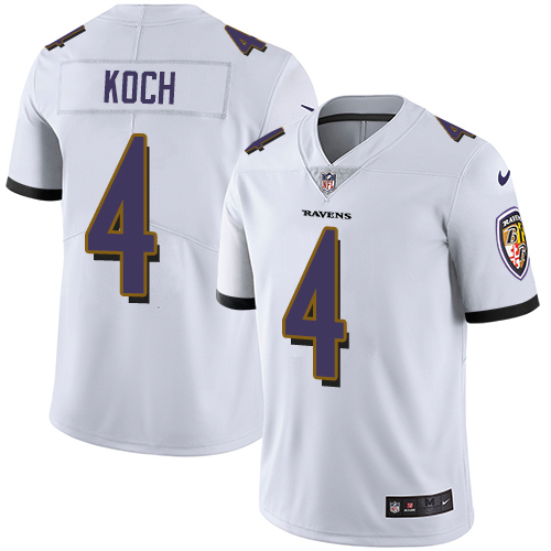 2019 men Baltimore Ravens 4 Koch white Nike Vapor Untouchable Limited NFL Jersey