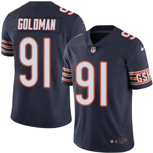 2019 men Chicago Bears 91 Goldman blue Nike Vapor Untouchable Limited NFL Jersey style 2
