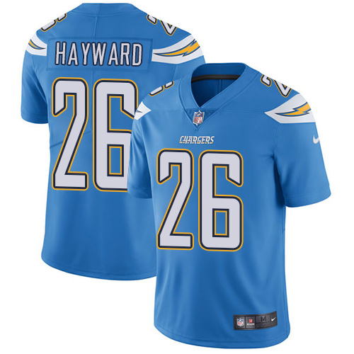 2019 men Los Angeles Chargers 26 Hayward light blue Nike Vapor Untouchable Limited NFL Jersey
