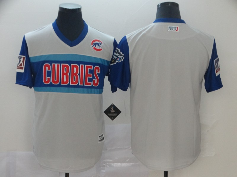 Customized Men Chicago Cubs blank white blue throwback MLB Jerseys