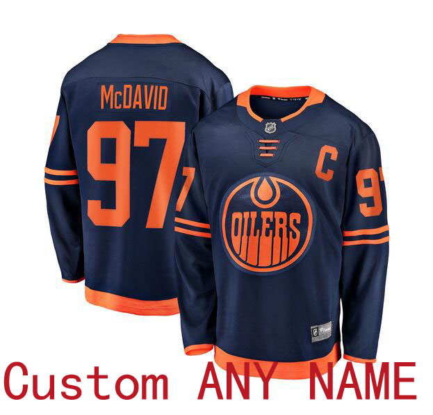 Customized Men Edmonton Oilers 97 Connor McDavid Blue Home Stitched NHL Jersey