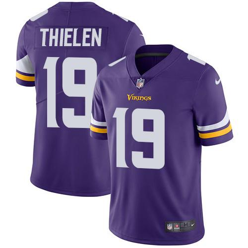Men 2019 Minnesota Vikings 19 Thielen purple Nike Vapor Untouchable Limited NFL Jersey