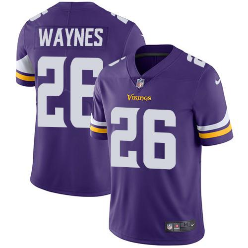 Men 2019 Minnesota Vikings 26 Waynes purple Nike Vapor Untouchable Limited NFL Jersey